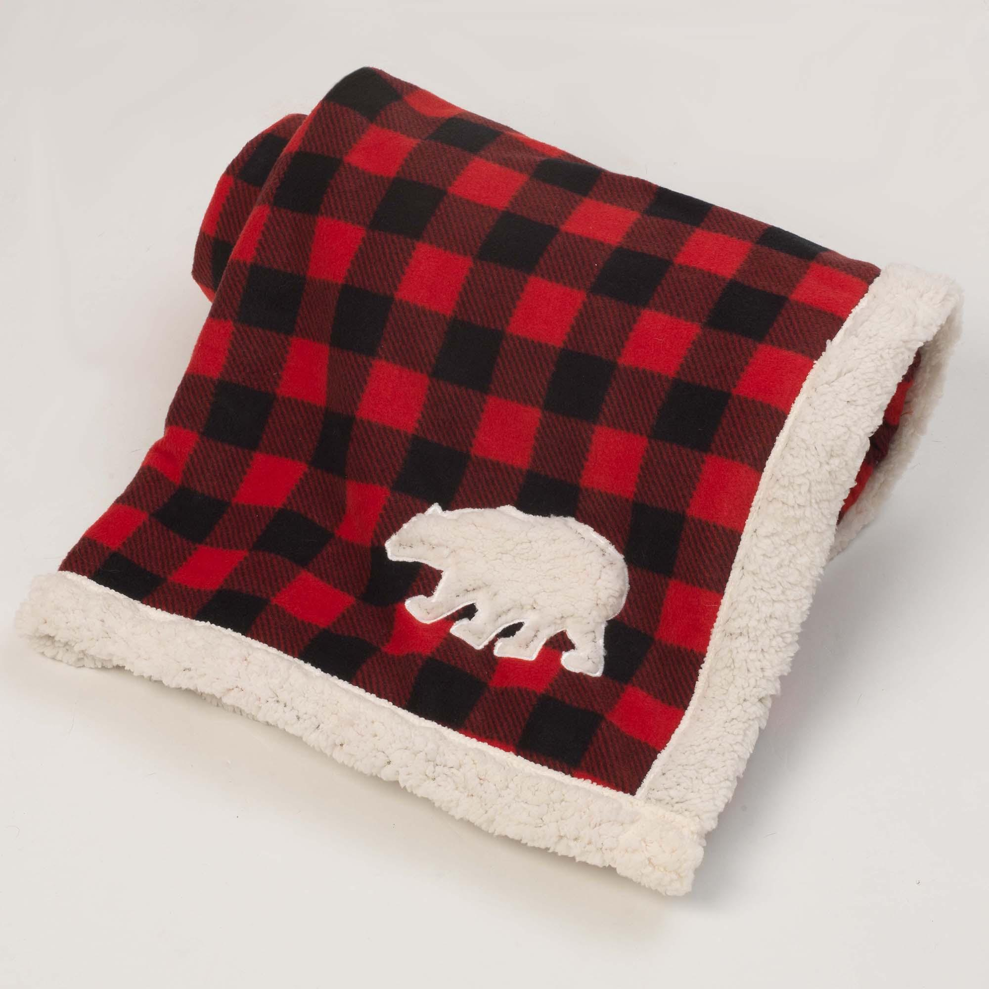 Jackson Polar Bear Fleece Dog Blanket - Red/Black