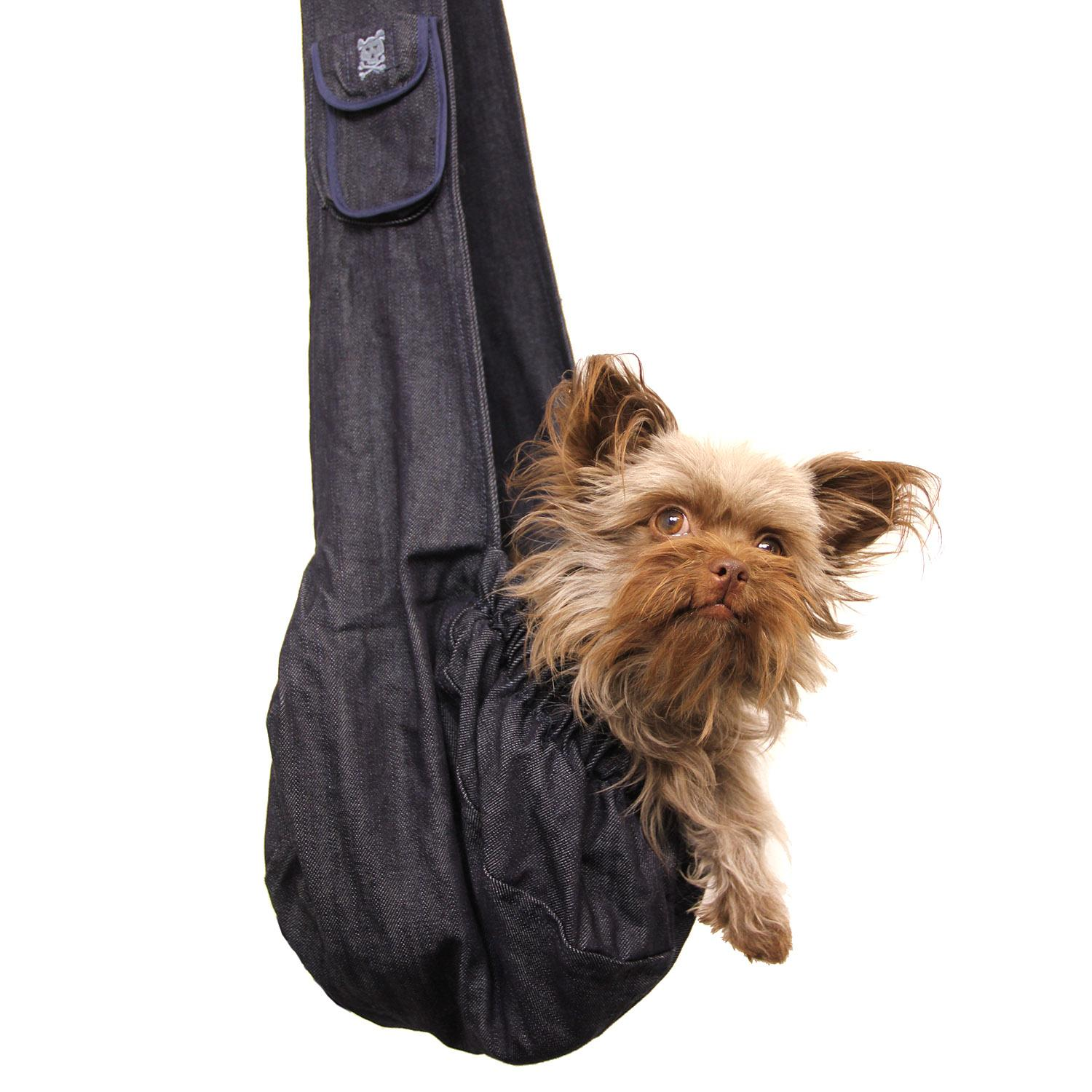 Just Hangin' Messenger Style Sling Pet Carrier - Dark Denim