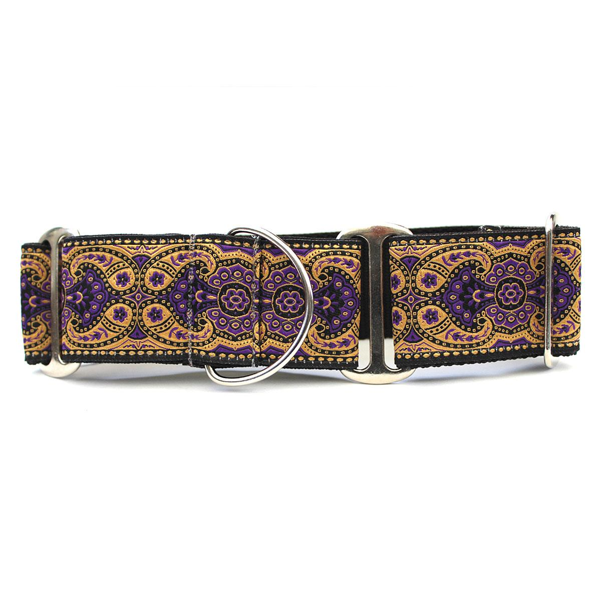Kashmir Wide Martingale Dog Collar by Diva Dog - Sultan Purple