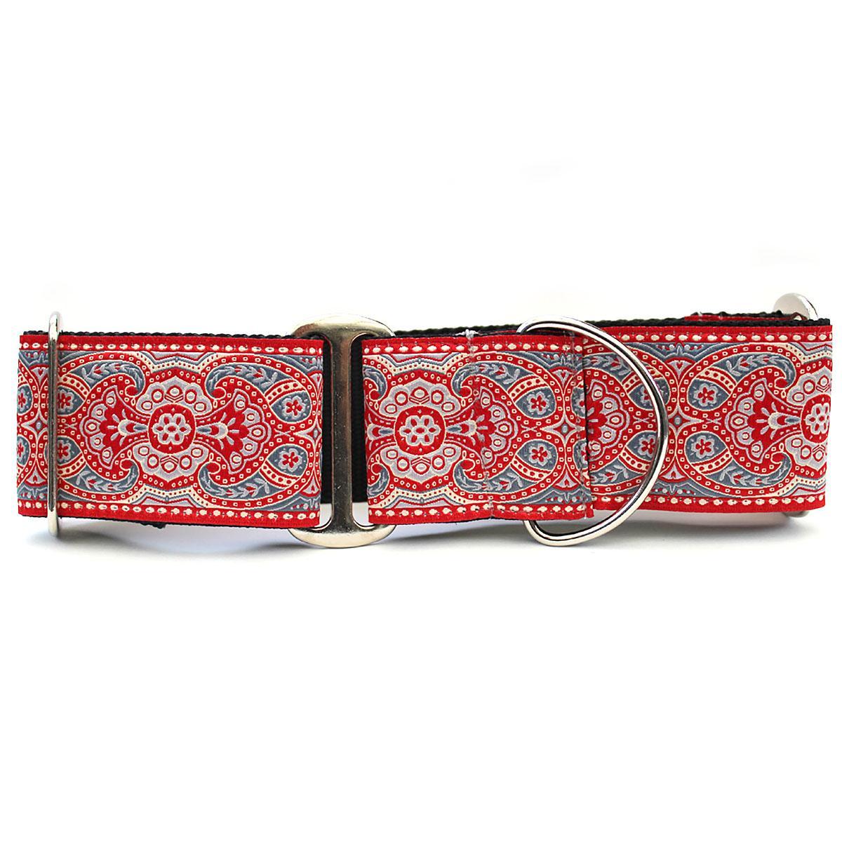 Kashmir Wide Martingale Dog Collar by Diva Dog - Empress Red