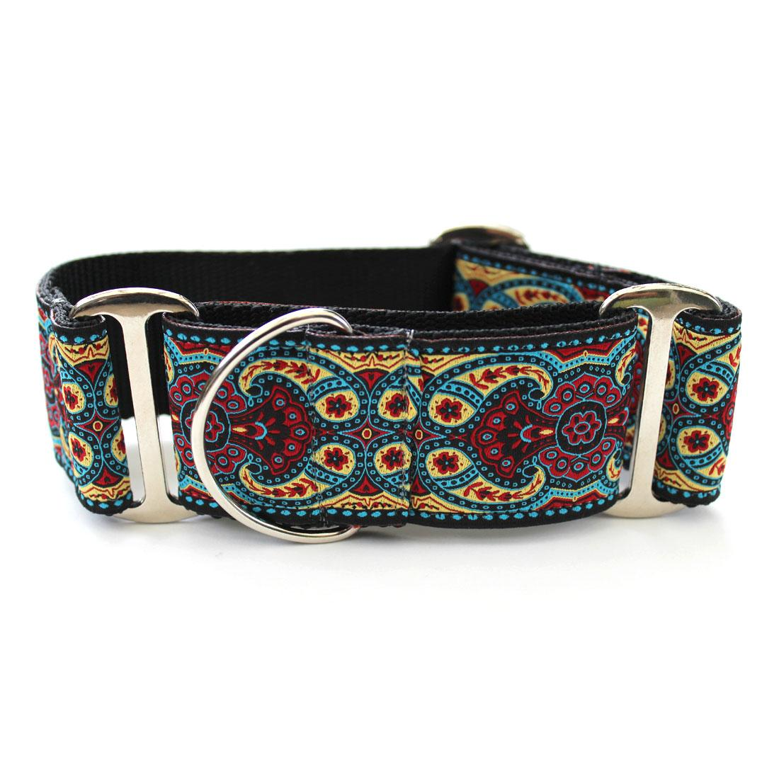 Kashmir Wide Martingale Dog Collar by Diva Dog - Temple Red