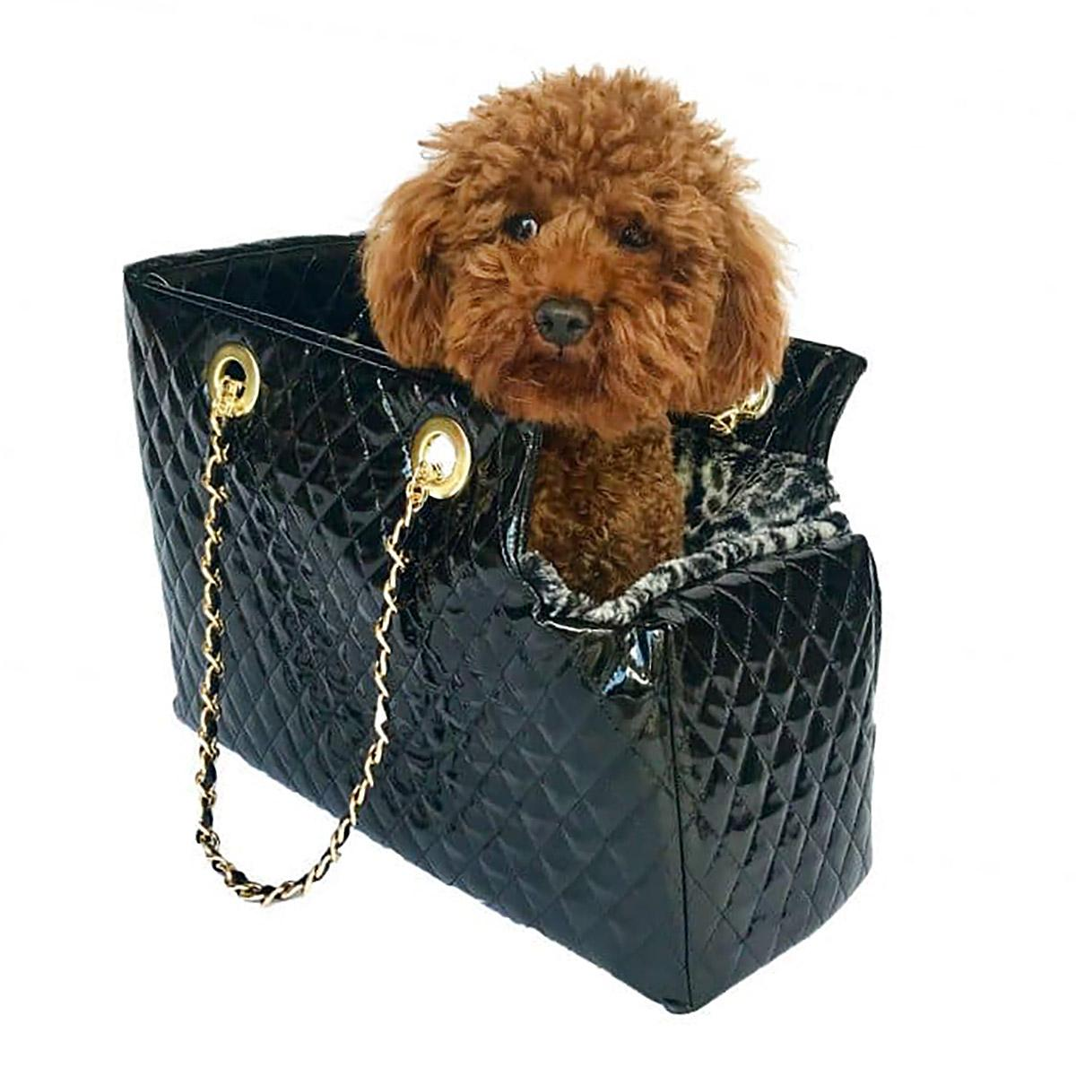 Kate Quilted Dog Carrier by The Dog Squad - Black Patent