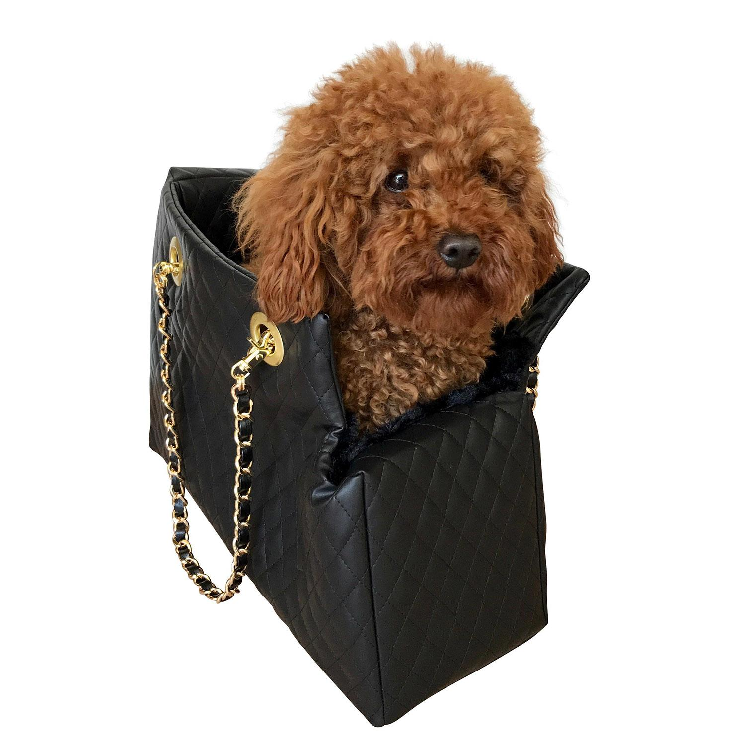 Kate Quilted Dog Carrier by The Dog Squad - Black
