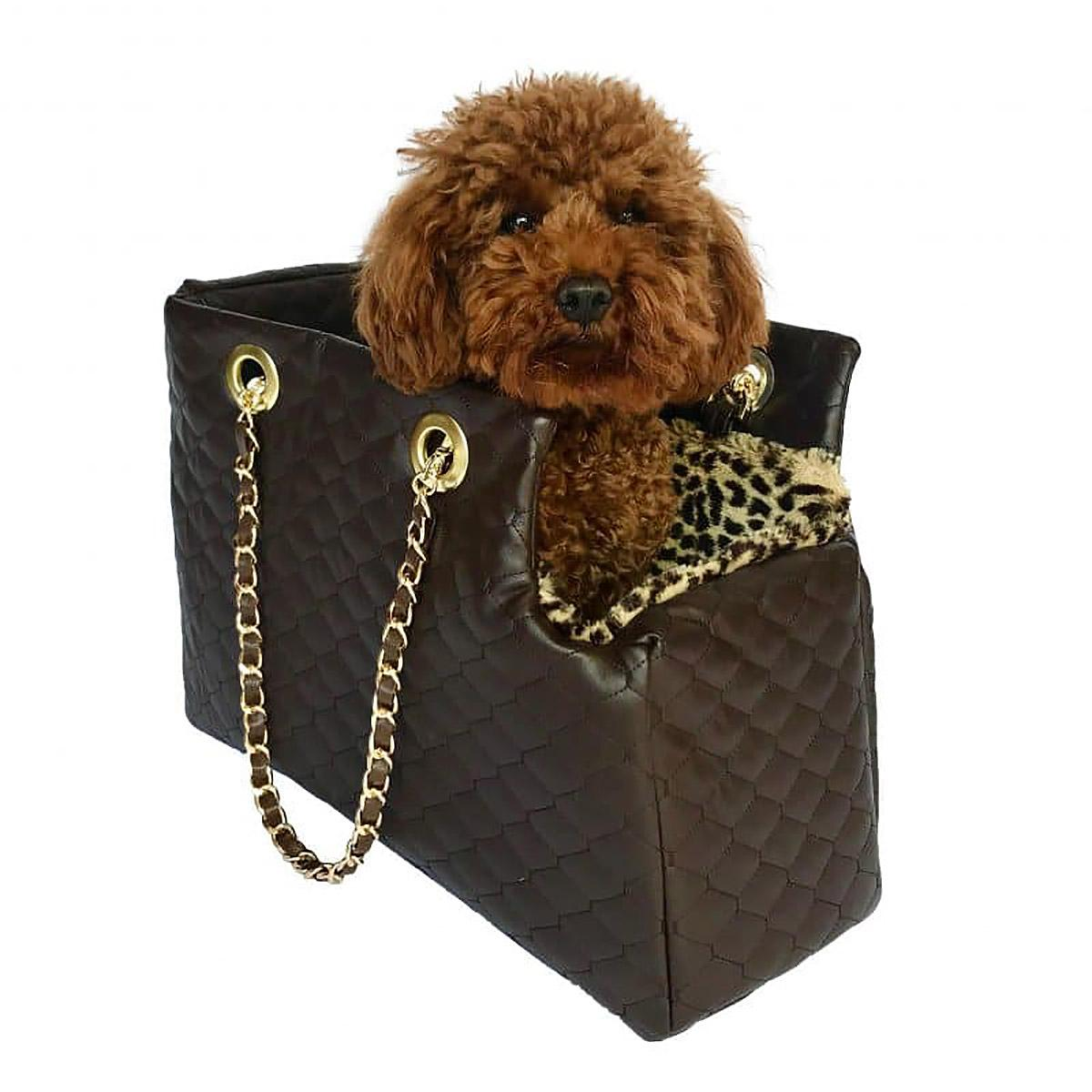 Kate Quilted Dog Carrier by The Dog Squad - Chocolate