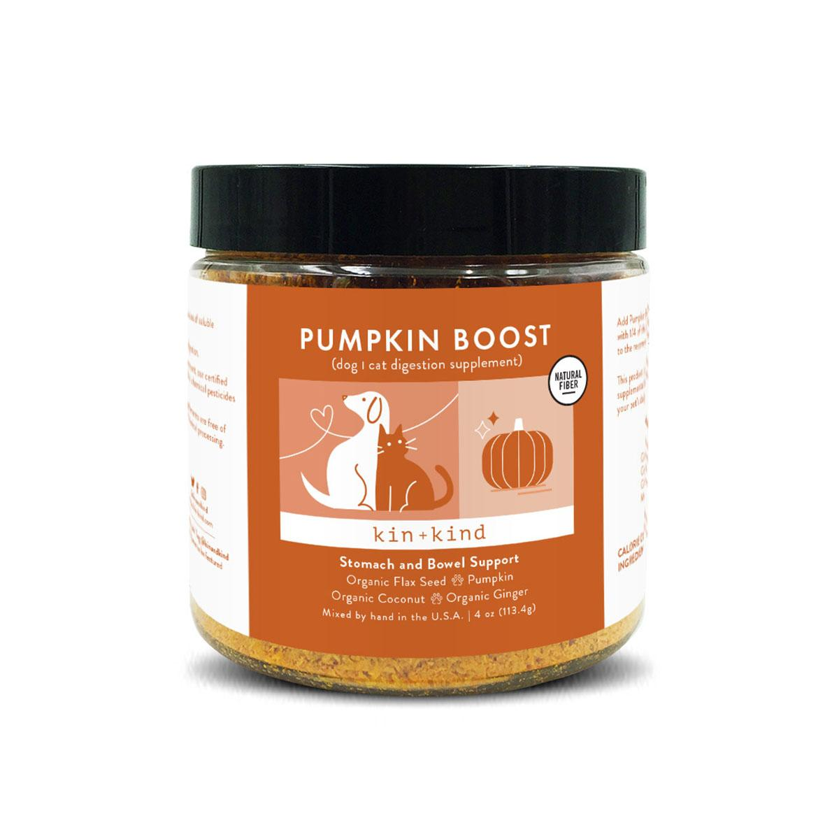 kin+kind Pumpkin Boost Organic Stomach & Bowel Support Supplement For Dogs & Cats