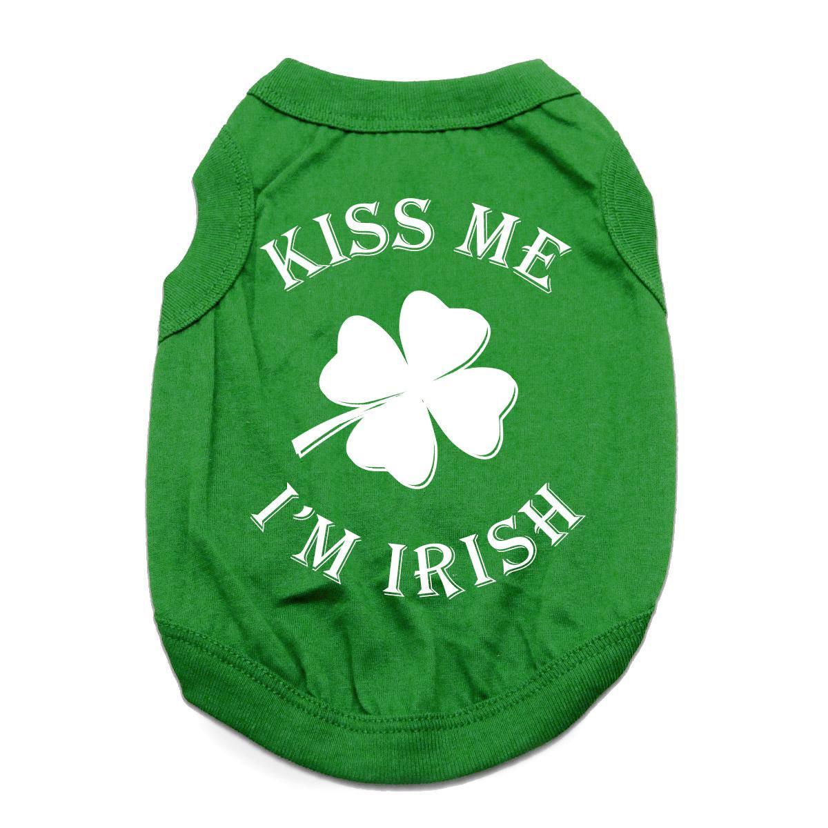 Kiss Me I'm Irish Dog Shirt - Green