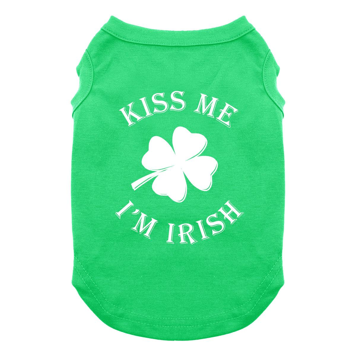 Kiss Me I'm Irish Dog Shirt - Green