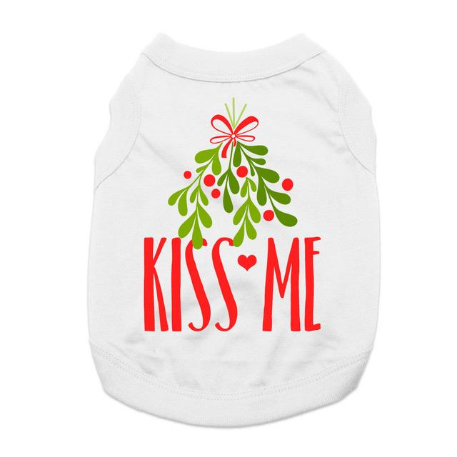 Kiss Me Mistletoe Dog Shirt - White