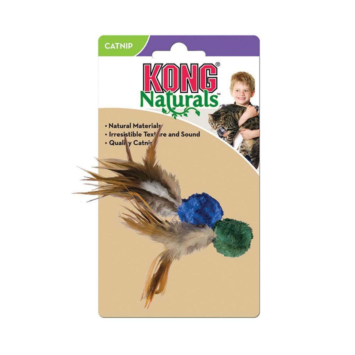 KONG Naturals Ball with Feathers Cat Toy