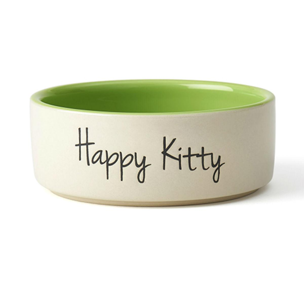 Happy Kitty Cat Bowl - Lime Green