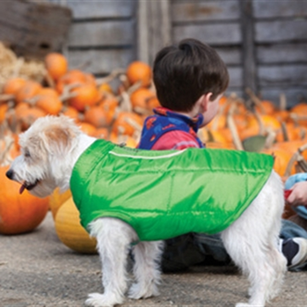 Kurgo Loft Reversible Dog Jacket - Green and Gray