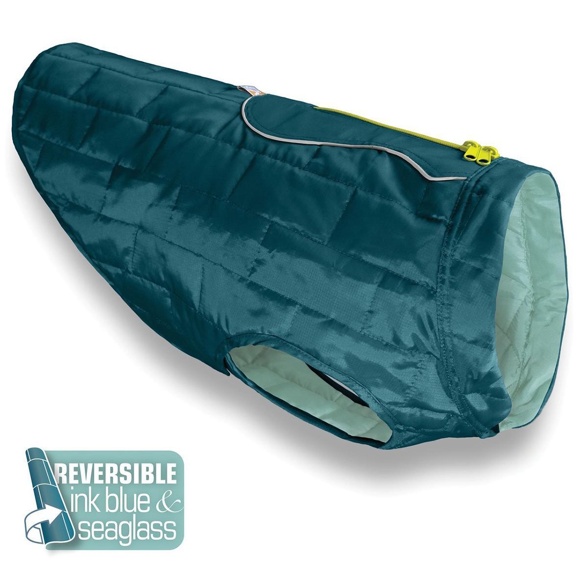 Kurgo Loft Reversible Dog Jacket - Ink Blue and Sea Glass
