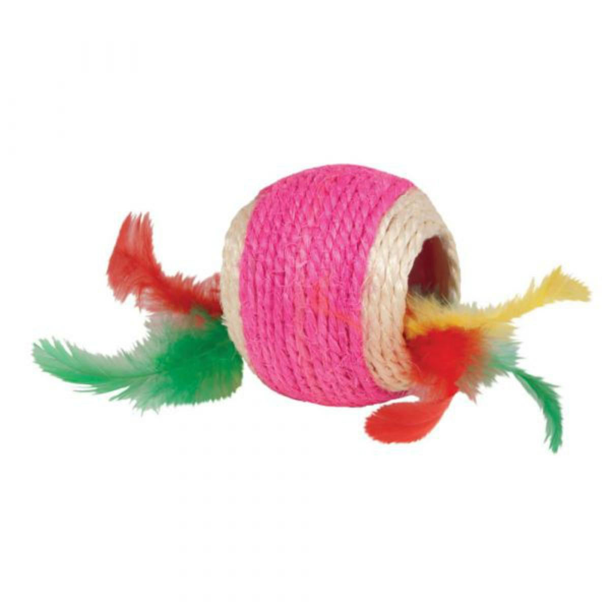 Kylie's Brights Jute Ball with Feathers Cat Toy