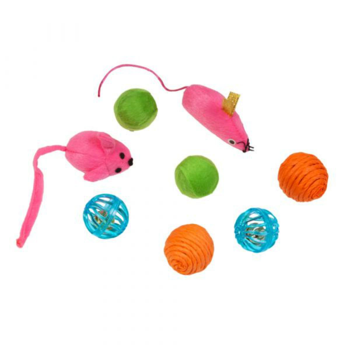 Kylie's Brights Mice and Balls Cat Toys - 8-Pack