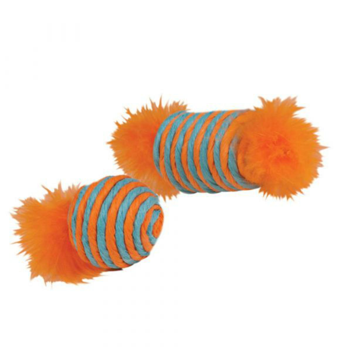 Kylie's Brights Raffia Spool and Ball with Feathers Cat Toy - 2 Pack