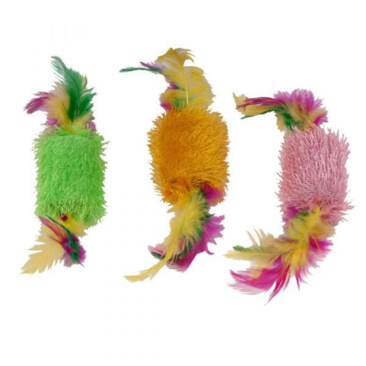 Kylie's Brights Shaggy Spools with Feathers Cat Toy - 3-Pack