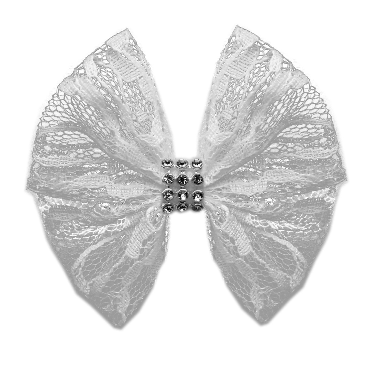 Lace and Crystals Dog Bow - White