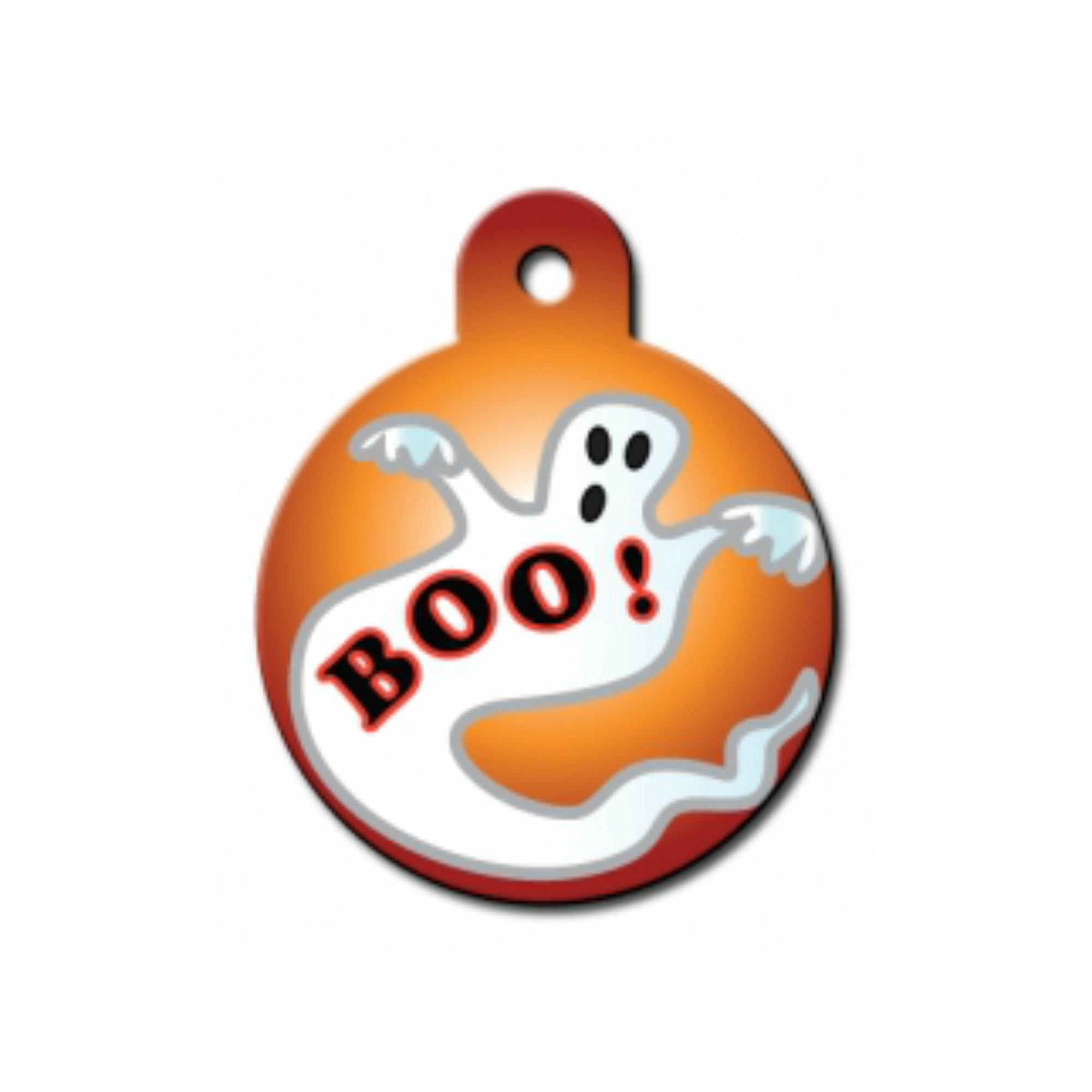 Holiday Large Circle Engravable Pet I.D. Tag - Ghost Boo