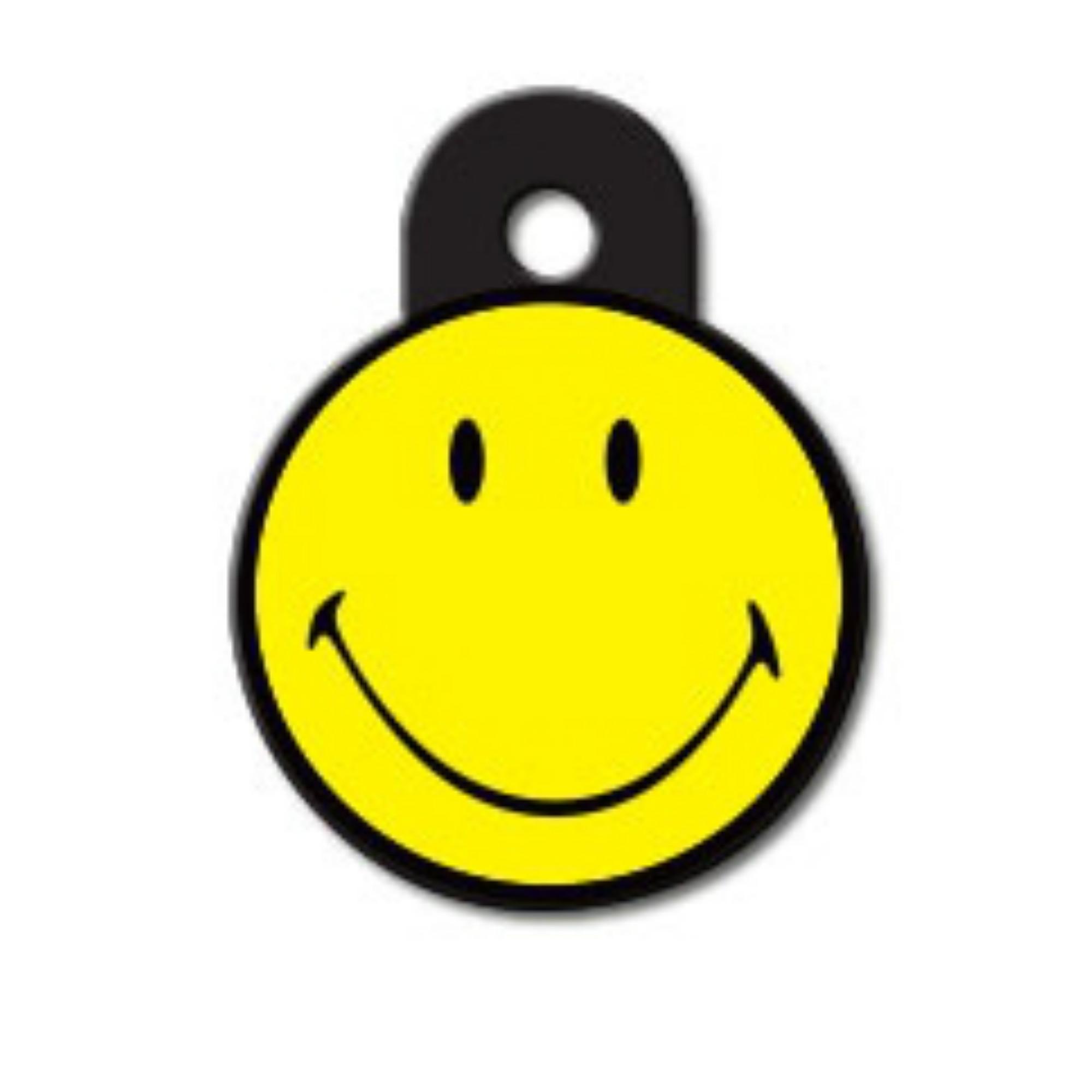 Large Circle Engravable Pet I.D. Tag - Original Smiley Face