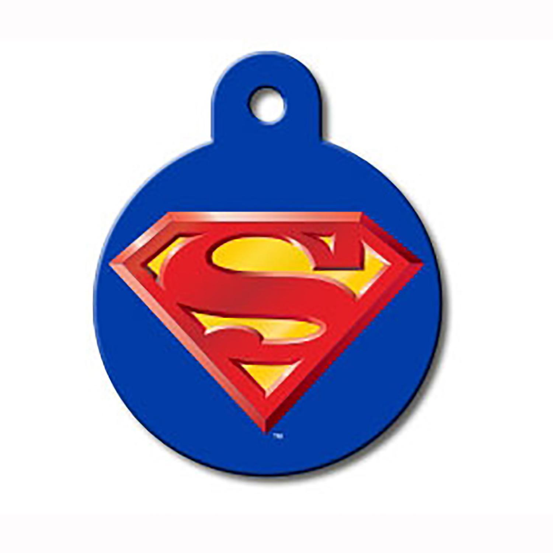 Large Circle Engravable Pet I.D. Tag - Superman Blue