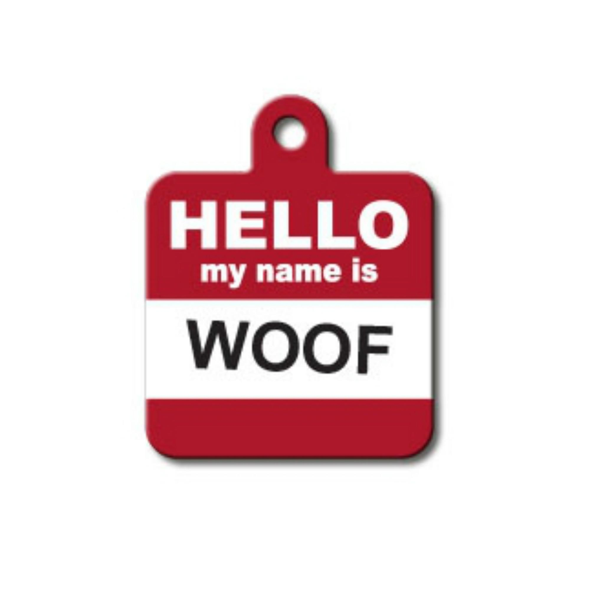 Large Square Engravable Pet I.D. Tag - Hello My Name Is