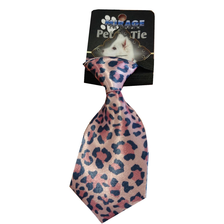Pink Leopard Dog Neck Tie by Mirage