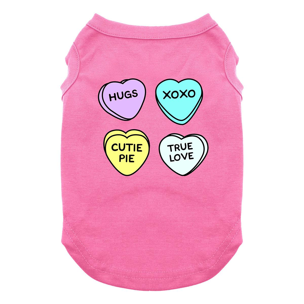 Conversation Hearts Valentine Dog Shirt - Bright Pink