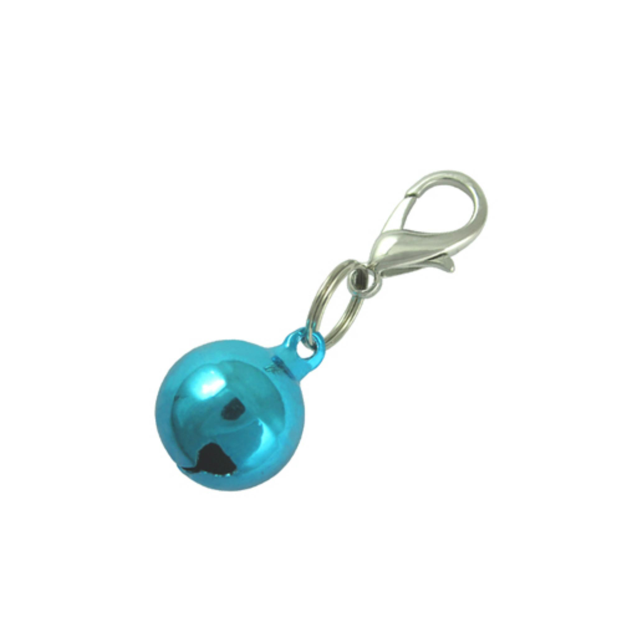 Lobster Clasp Bell Collar Charm - Metallic Blue