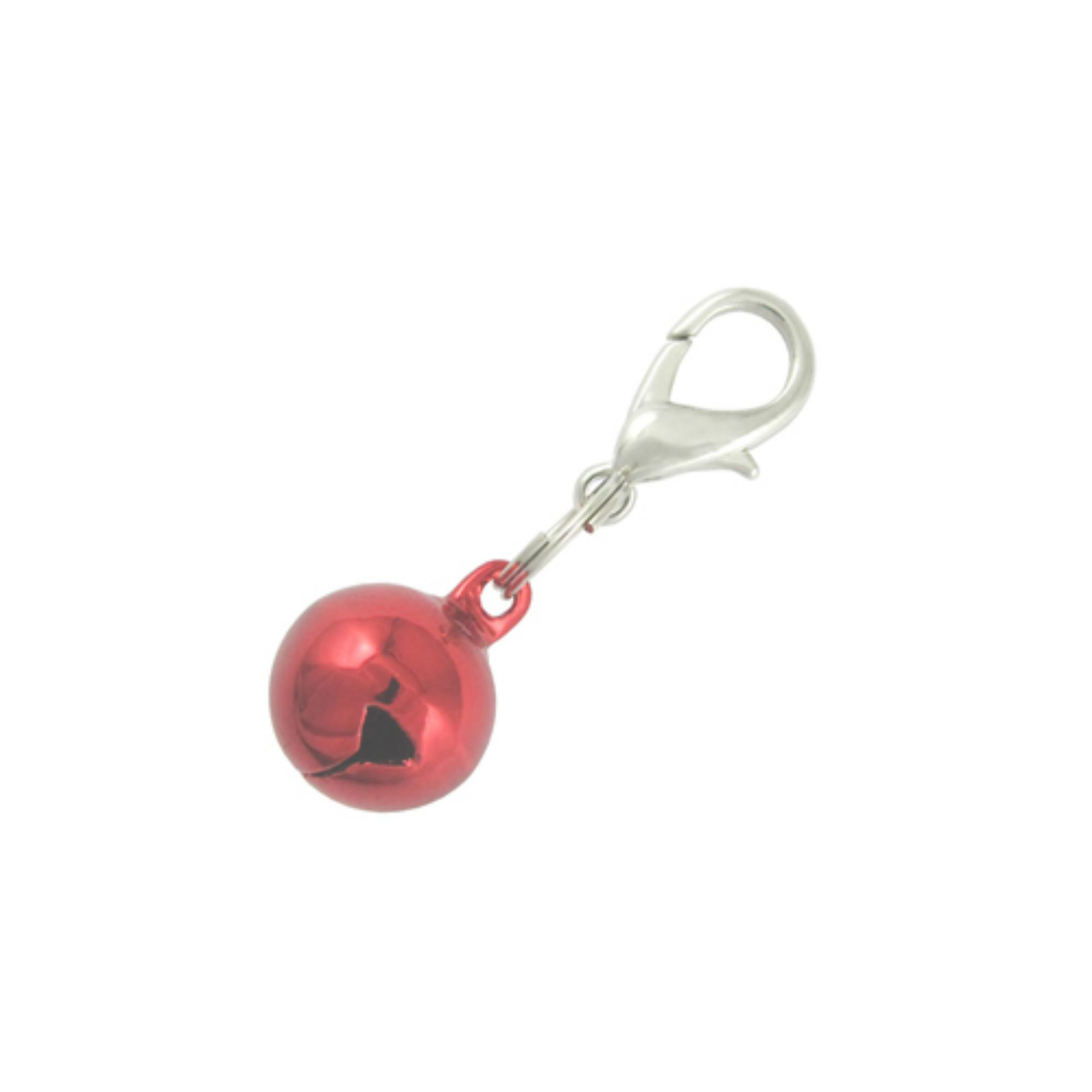 Lobster Clasp Bell Collar Charm - Metallic Red