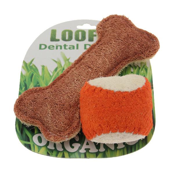 Loofah Dental Dog Toy Combo - Ball & Bone