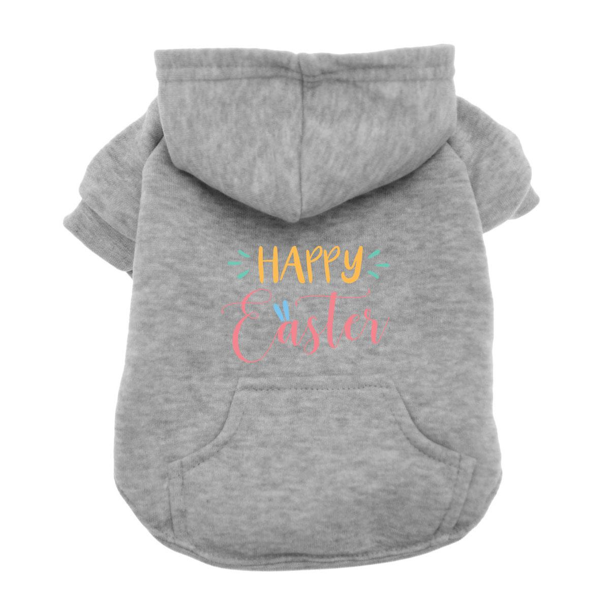 Happy Easter Dog Hoodie - Gray