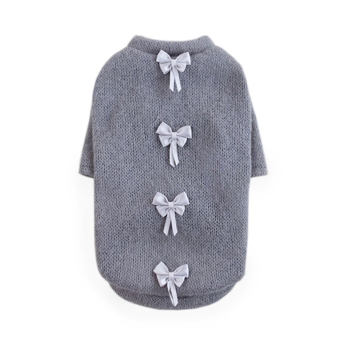 Dainty Bow Dog Sweater by Hello Doggie - Gray