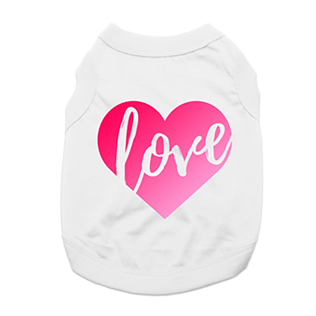 Love Heart Dog Shirt - White