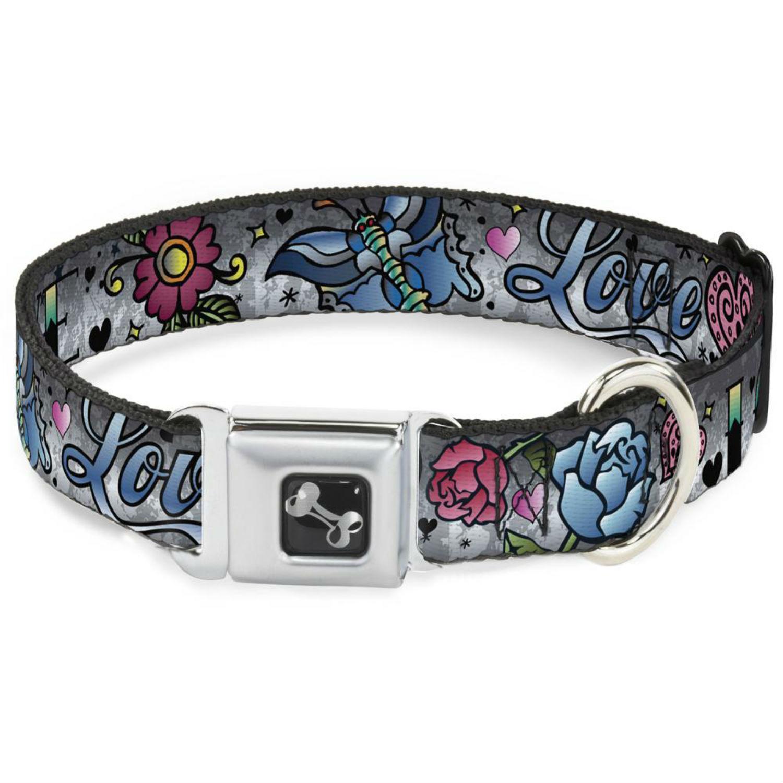 Love Love Seatbelt Buckle Dog Collar by Buckle-Down - Gray