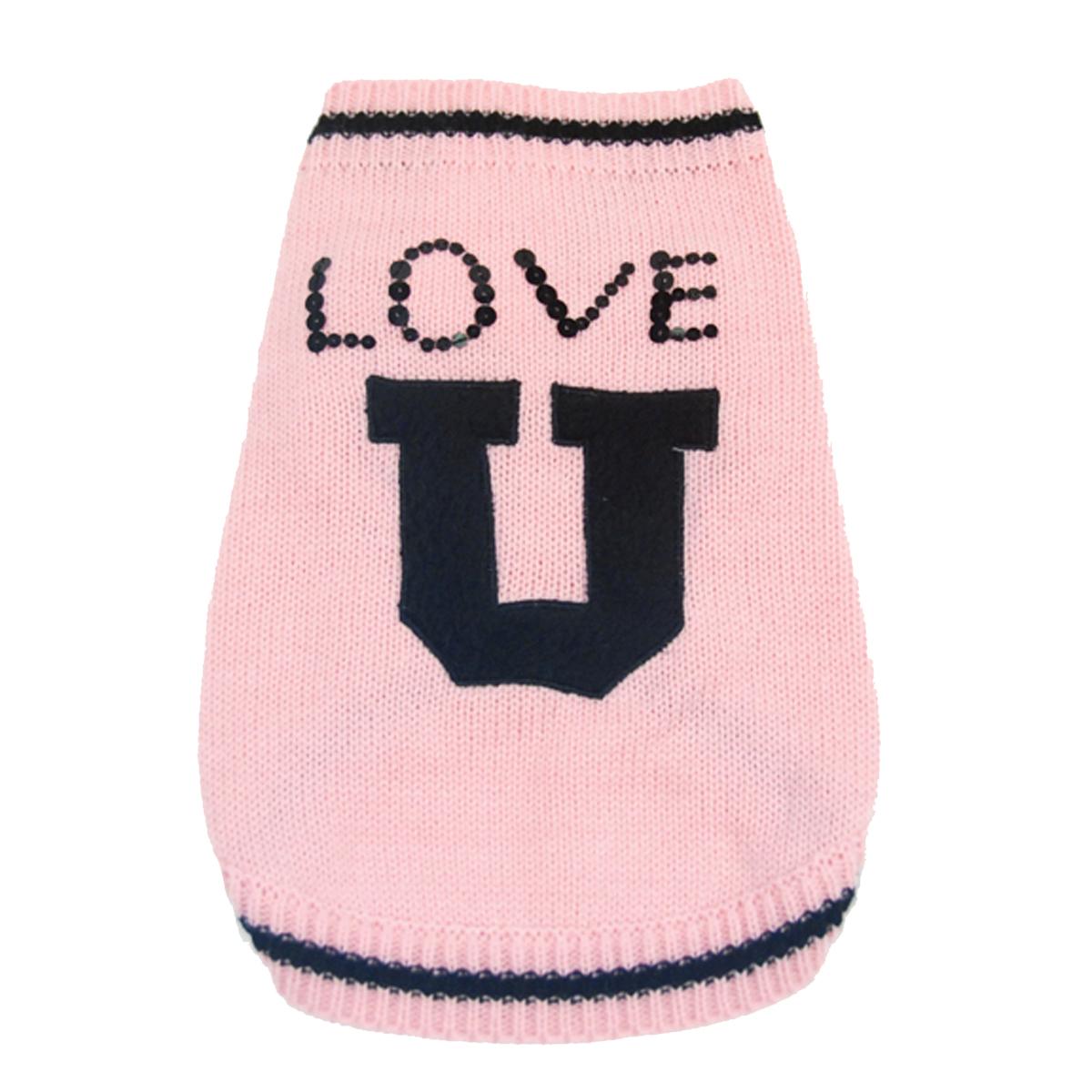 Love U Dog Sweater by Oscar Newman - Pink