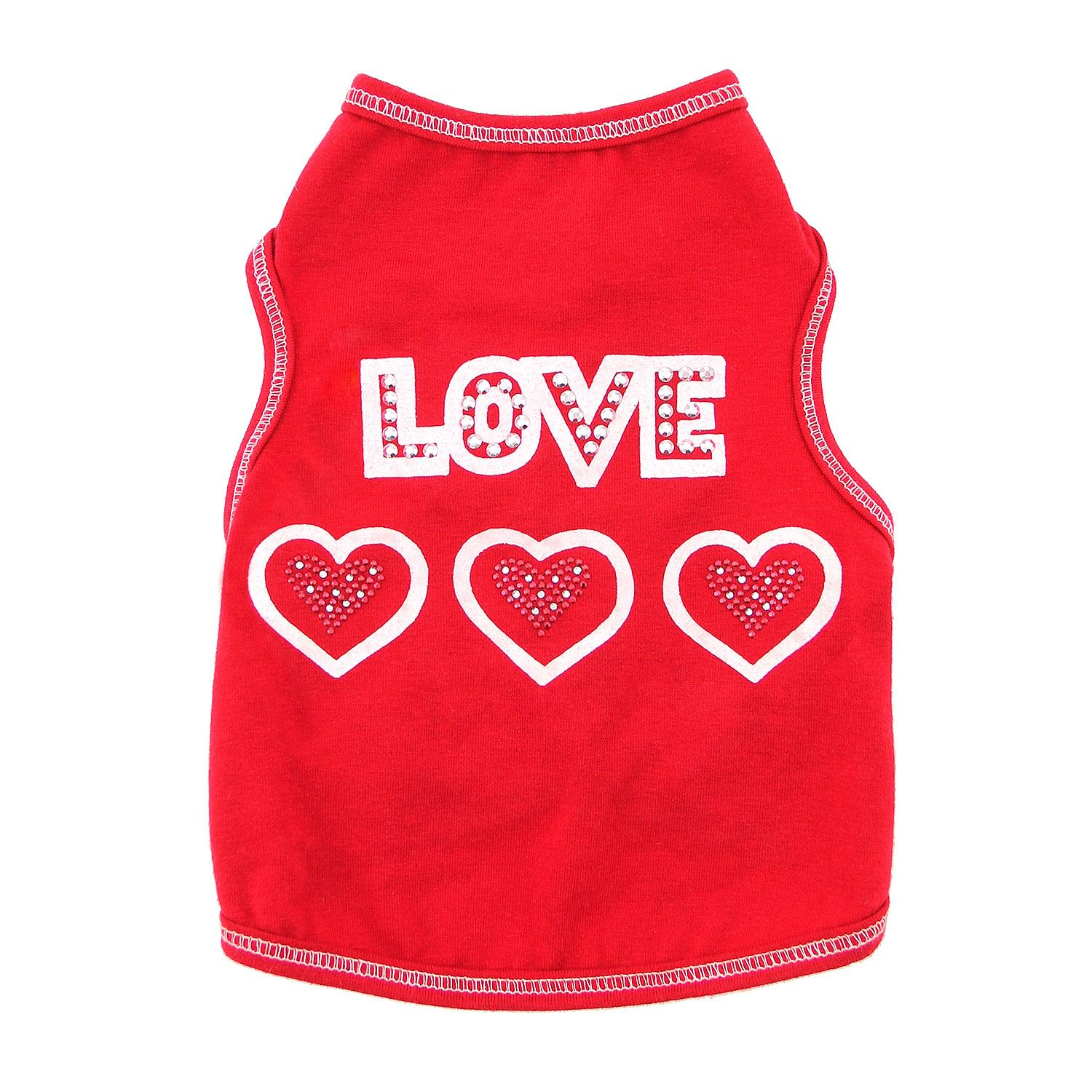 Love with Three Hearts Dog Tank - Red