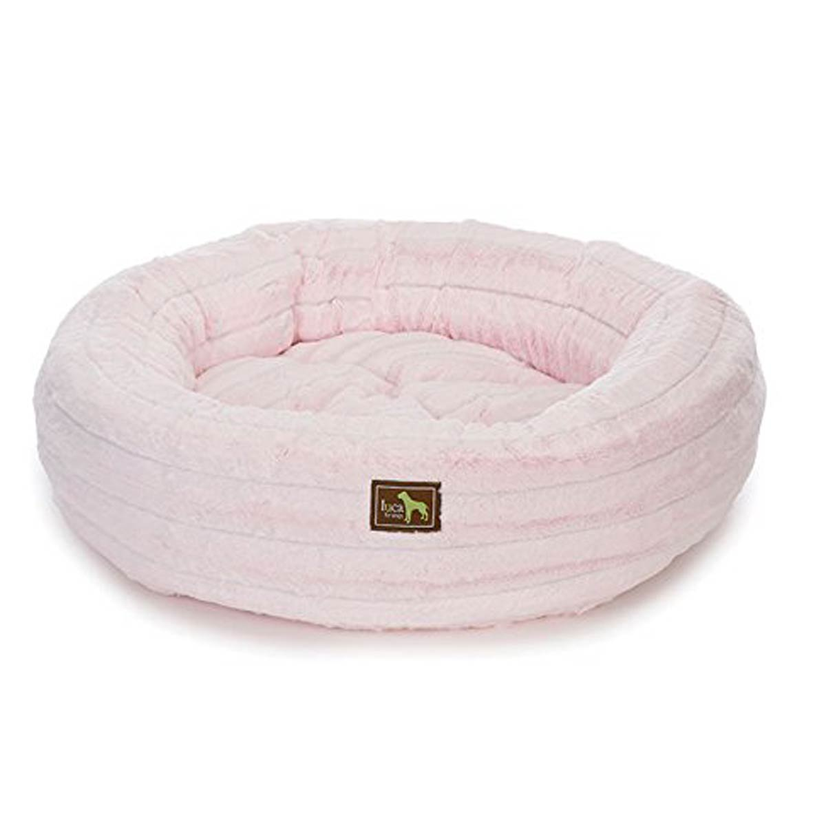 Luca Chinchilla Nest Plush Dog Bed - Baby Pink