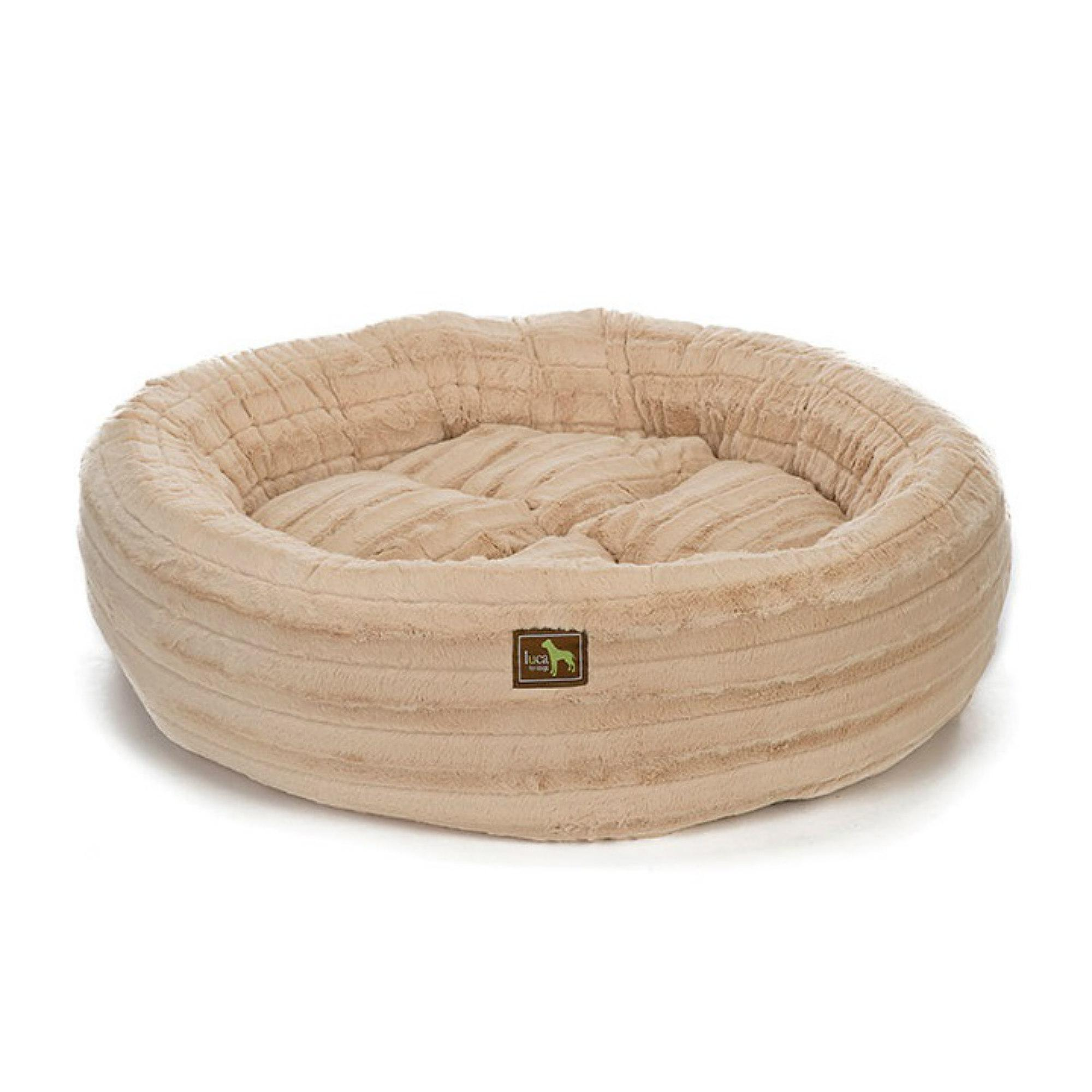 Luca Chinchilla Nest Plush Dog Bed - Camel