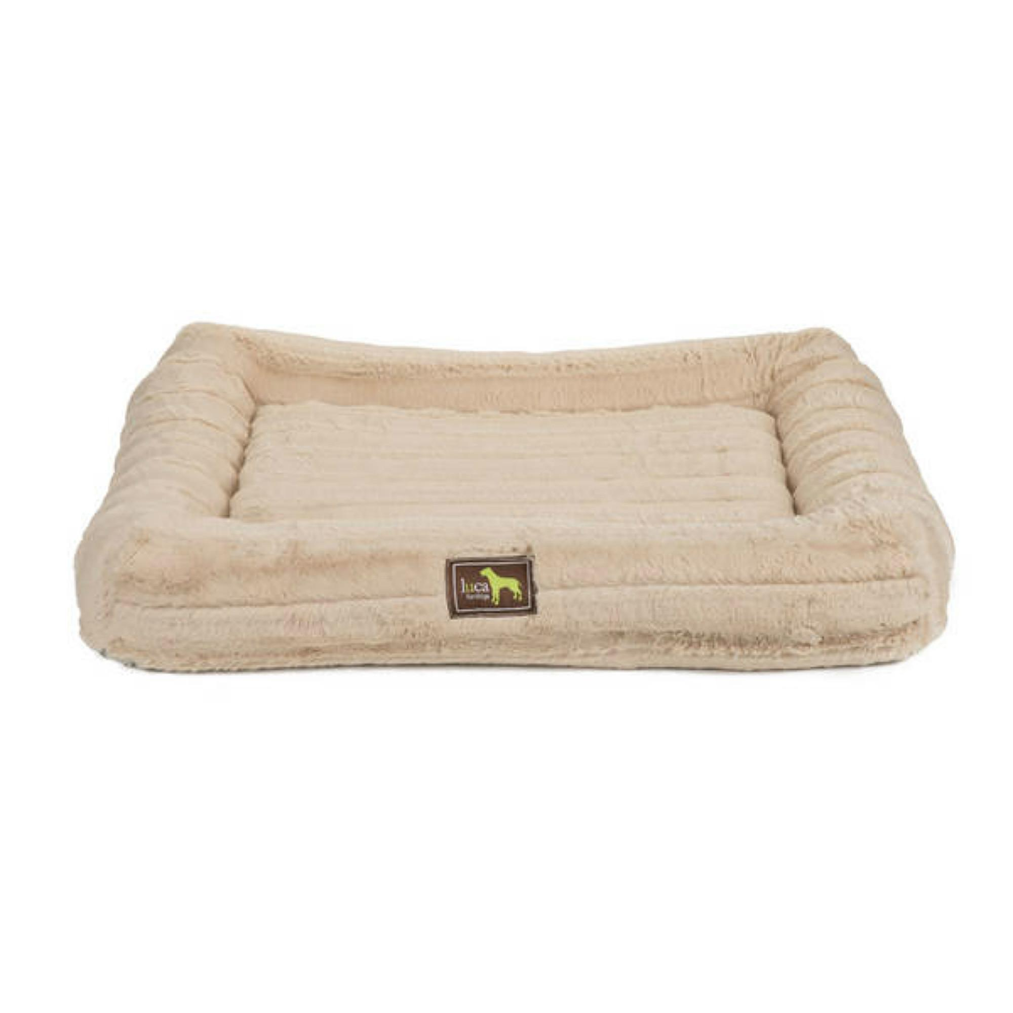 Luca Crate Cuddler Chinchilla Dog Bed - Camel