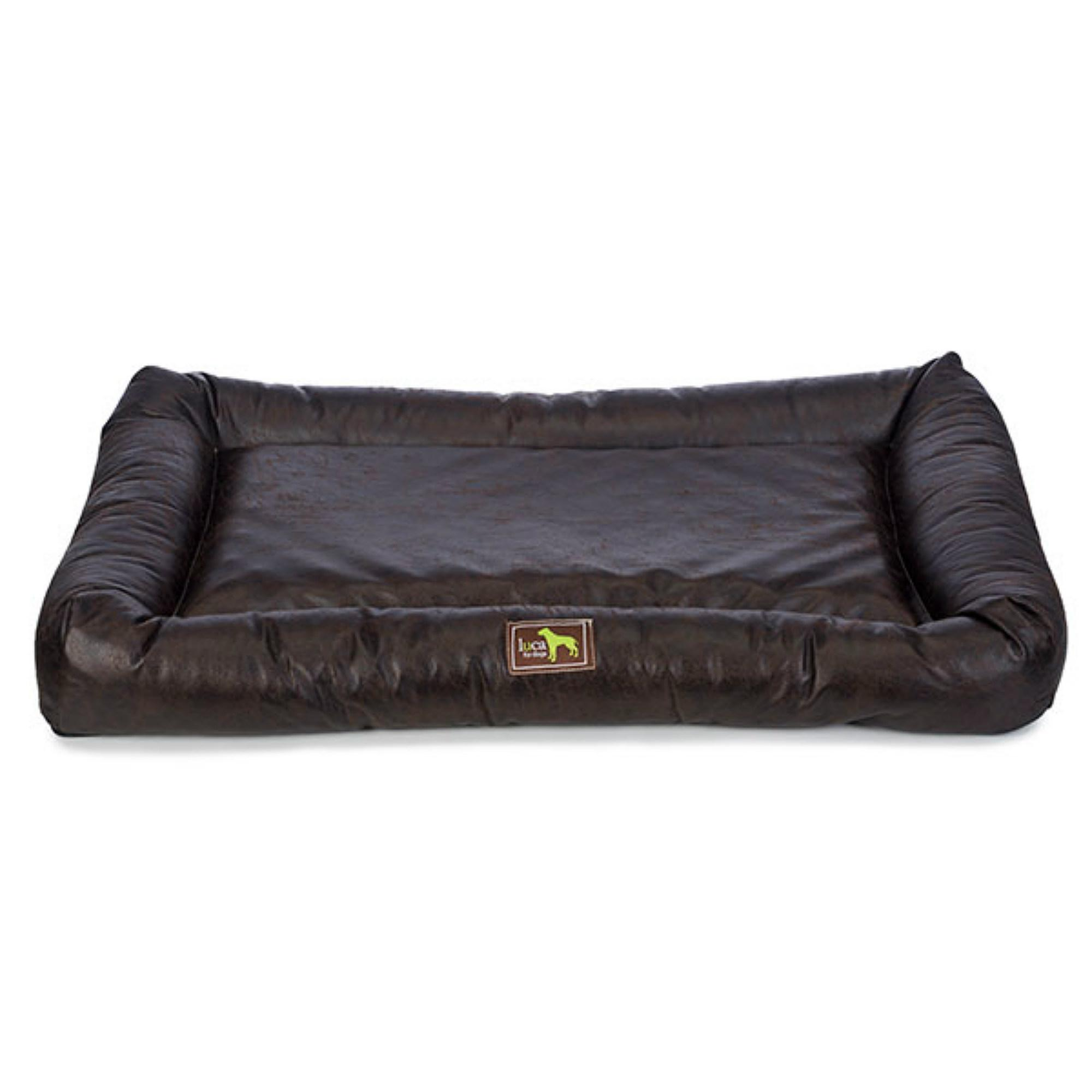 Luca Crate Cuddler Dog Bed - Walnut Faux Leather