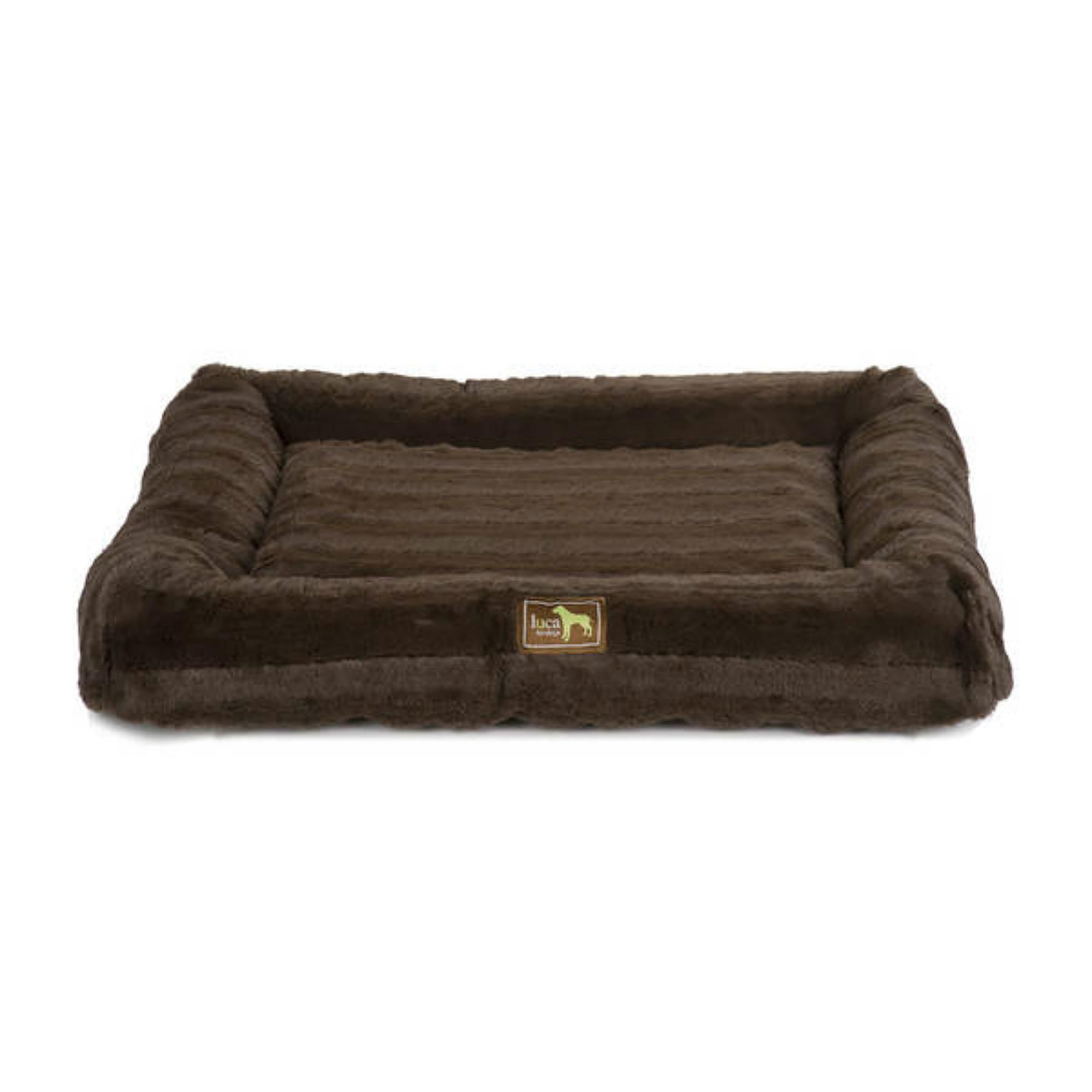 Luca Crate Cuddler Chinchilla Dog Bed - Chocolate