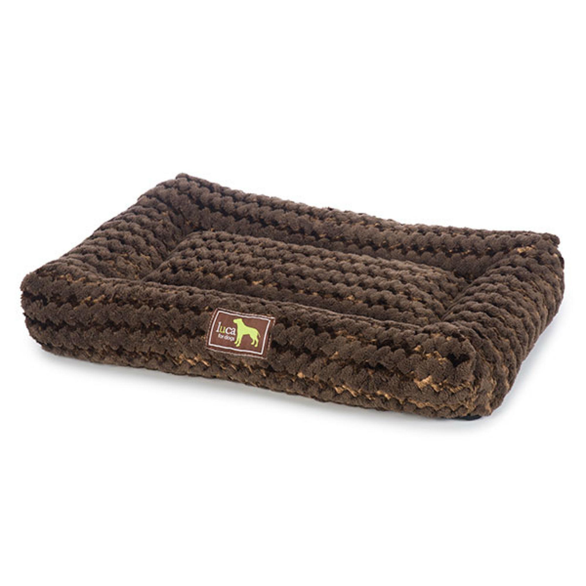 Luca Crate Cuddler Plush Dog Bed - Chocolate Swirl