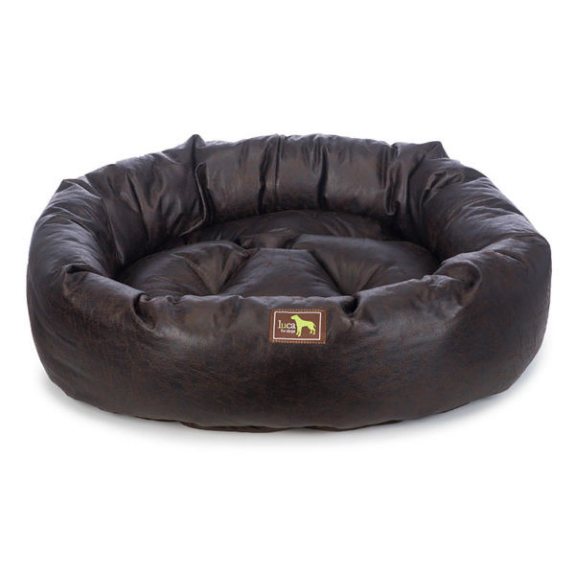 Luca Nest Dog Bed - Walnut Faux Leather