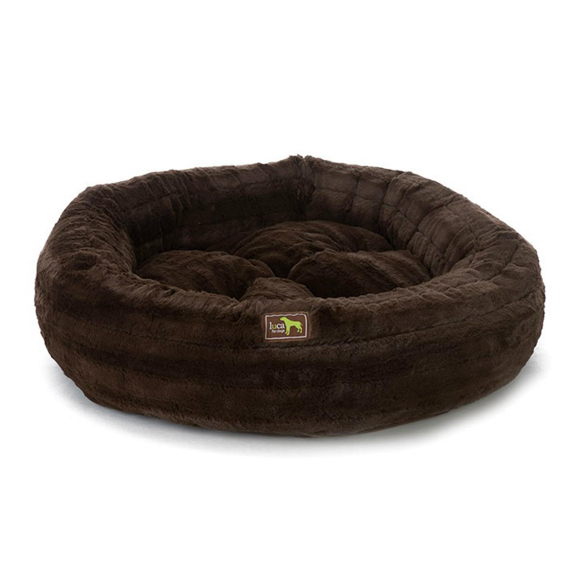 Luca Chinchilla Nest Plush Dog Bed - Chocolate