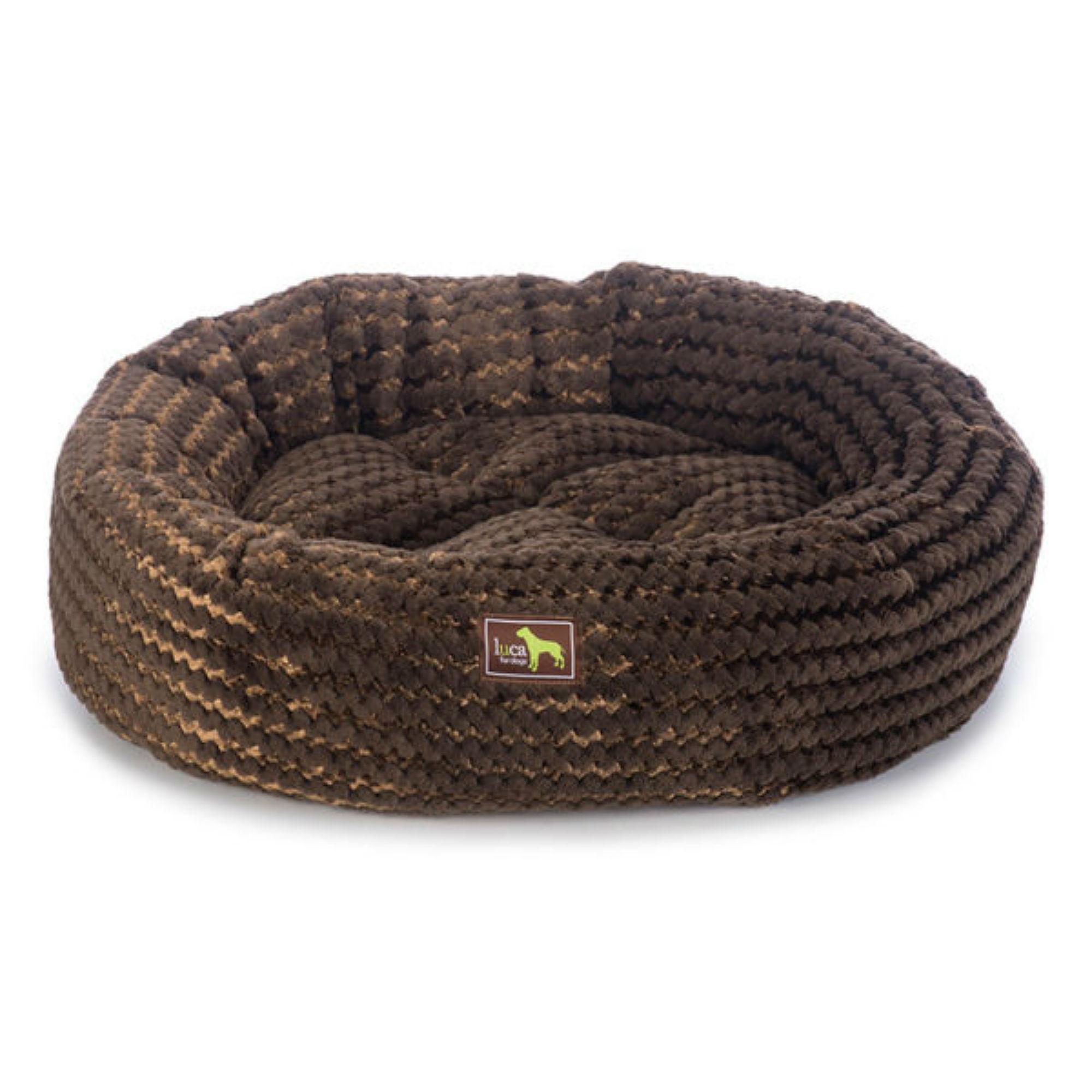 Luca Nest Plush Dog Bed - Chocolate Swirl