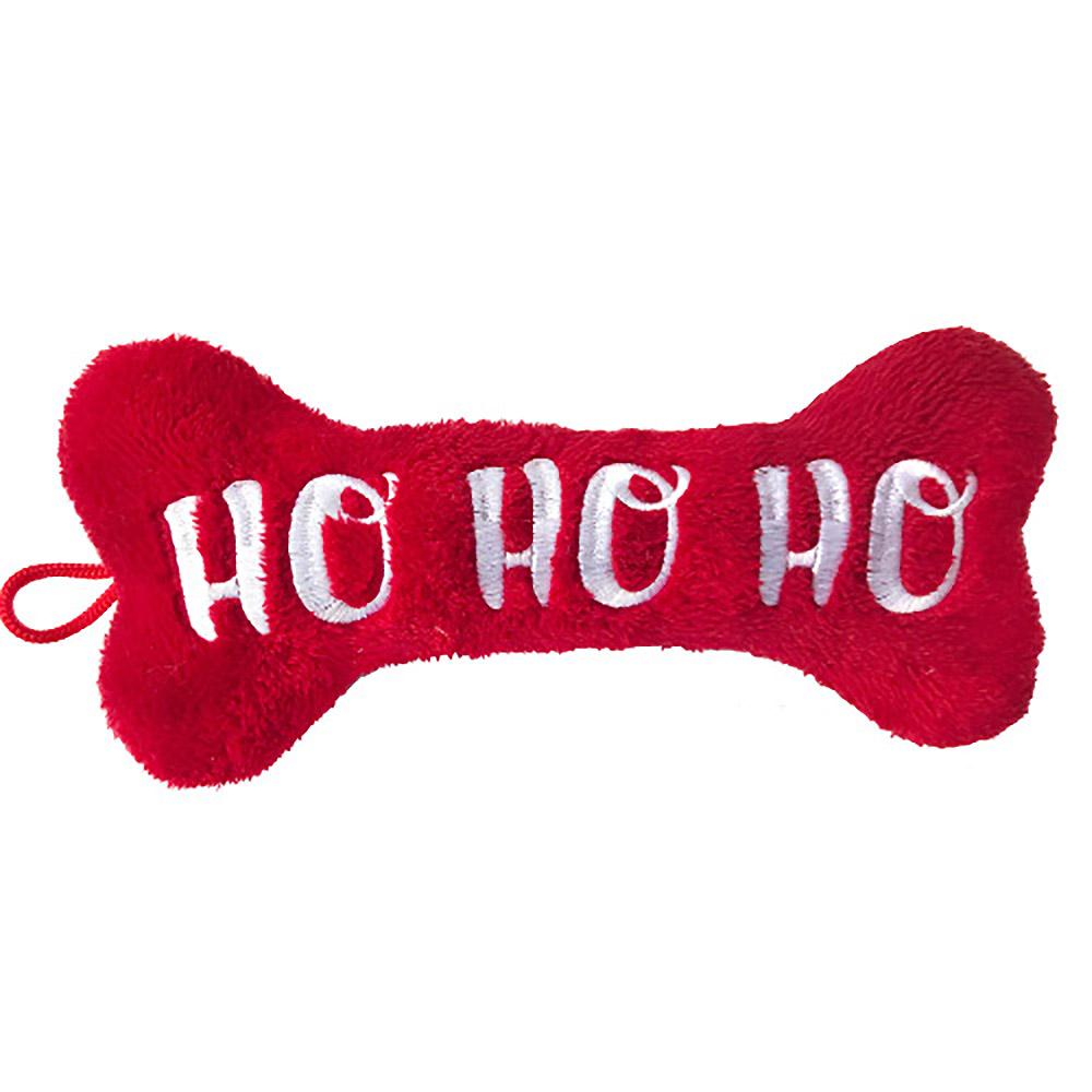 Lulubelles Holiday Power Plush Dog Toy - Ho Ho Ho Bone