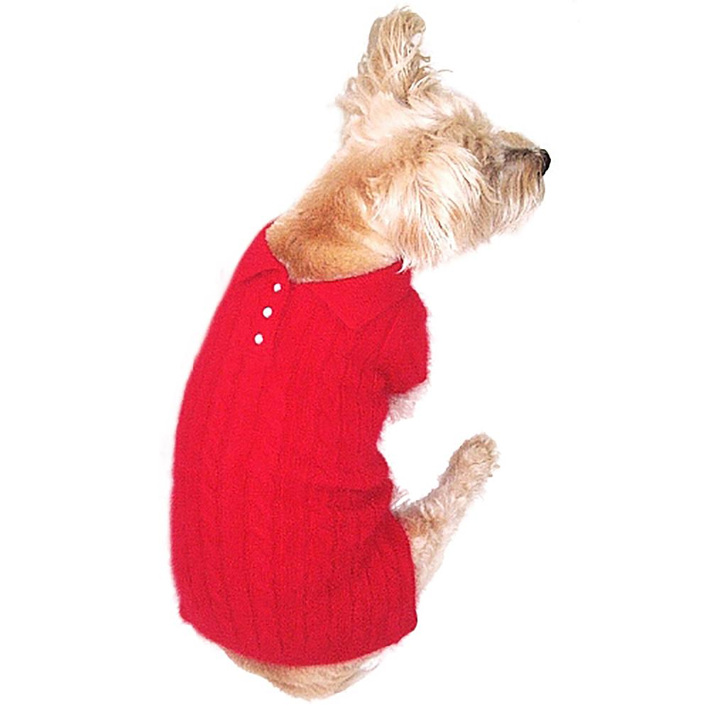 Luxury Preppy Polo Cable Knit Dog Sweater - Red