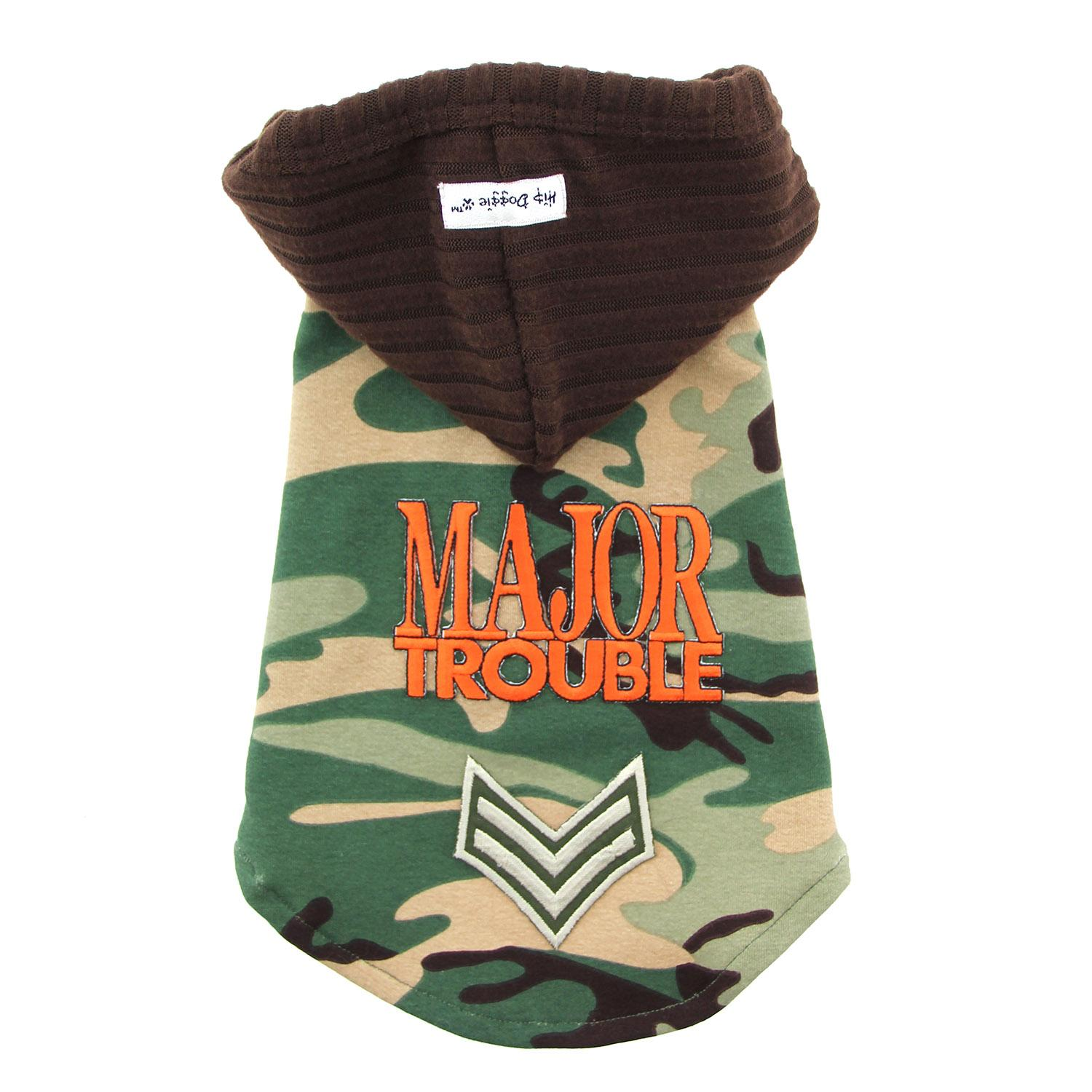 Major Trouble Dog Hoodie by Hip Doggie - Green Camo