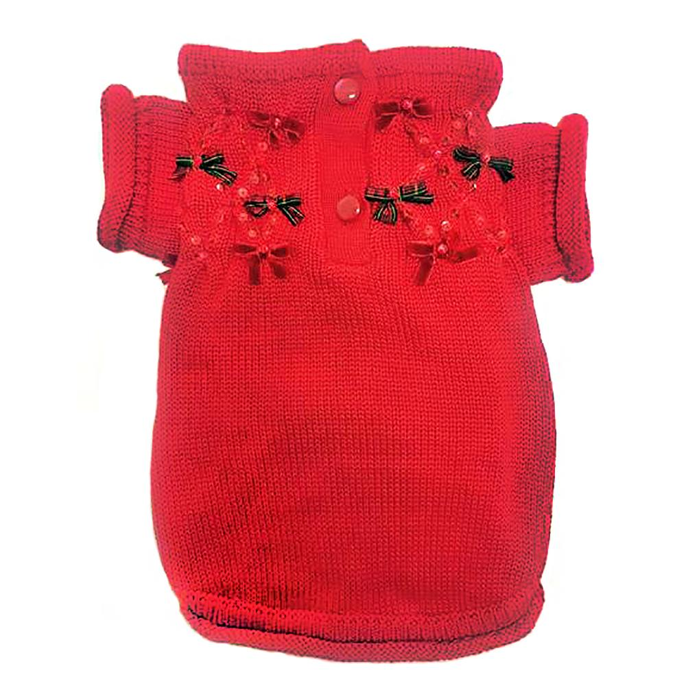 Christmas Bows Hand-Smocked Dog Sweater By Oscar Newman - Red