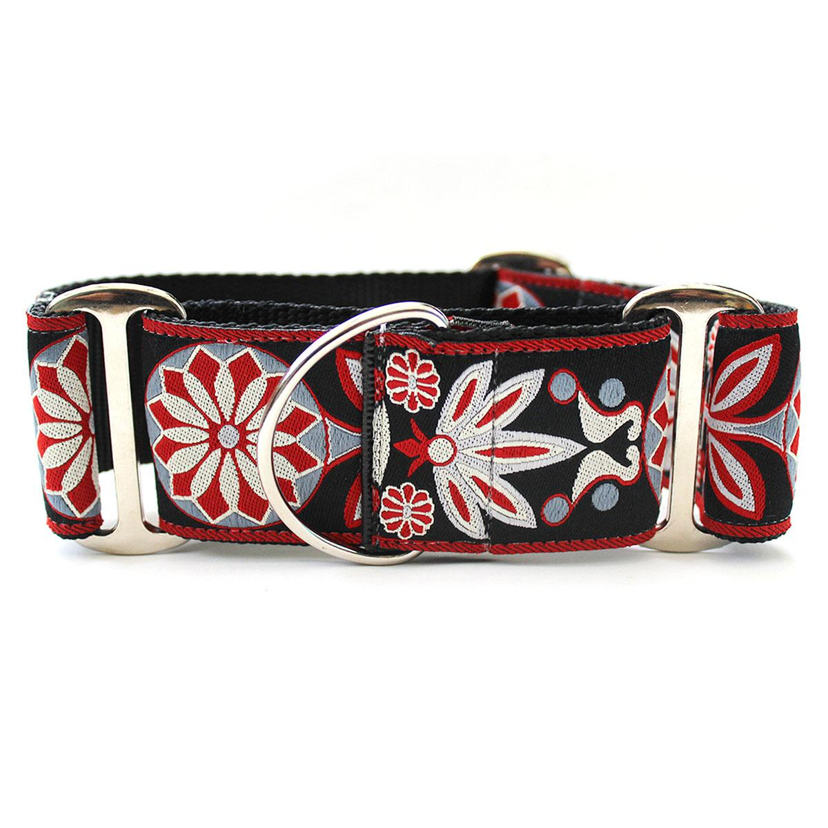 Mandala Star Wide Martingale Dog Collar by Diva Dog - Carnelian Red